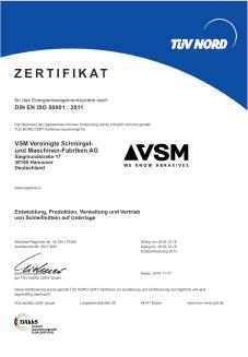 Certyfikat ISO 50001:2011