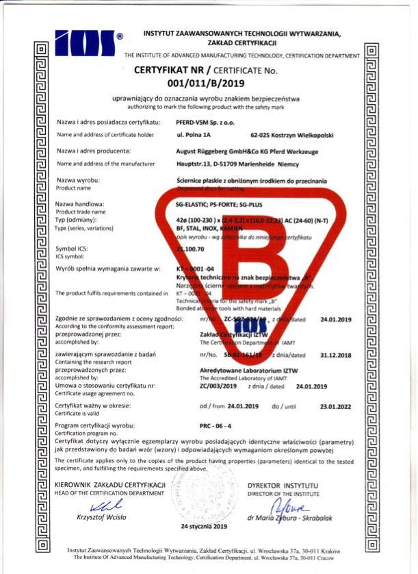 Certyfikat B nr 1