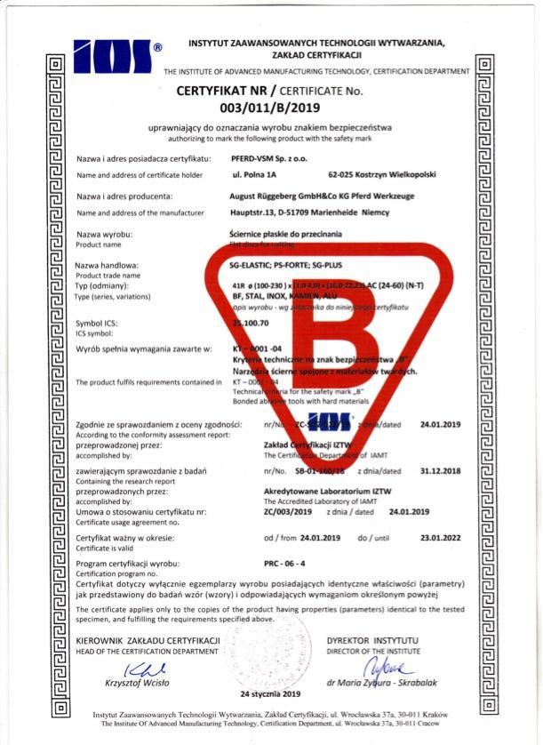 Certyfikat B nr 3