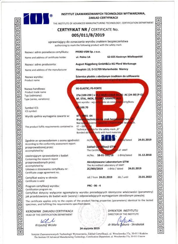 Certyfikat B nr 5